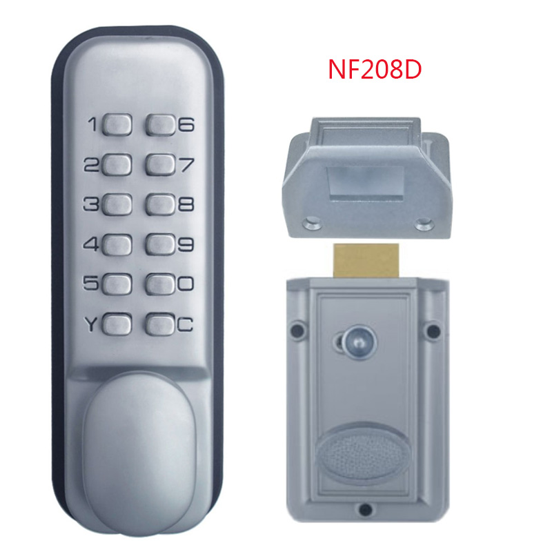 Minimalist mechanical door locks Keyless Digital Machinery Code Keypad Password Entry Door Lock Zinc Alloy Silver 1706 New Design - Model Of keyless exterior door lock In 2019