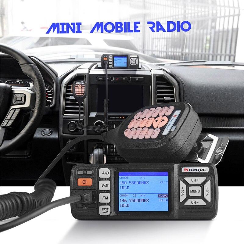 Baojie BJ-318 Mini Mobile Radio 10km Dual Band Mobile Walkie Talkie 10W Mobile Car Transceiver VHF/UHF With Scrambler Function
