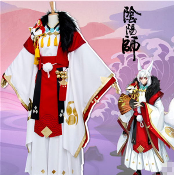 HOT Mobile Game Onmyoji Demon Fox Elegance Cosplay Costume Top+Vest+Kendo Pants+Fur Collar+Belts+Accessories+Free Shipping G