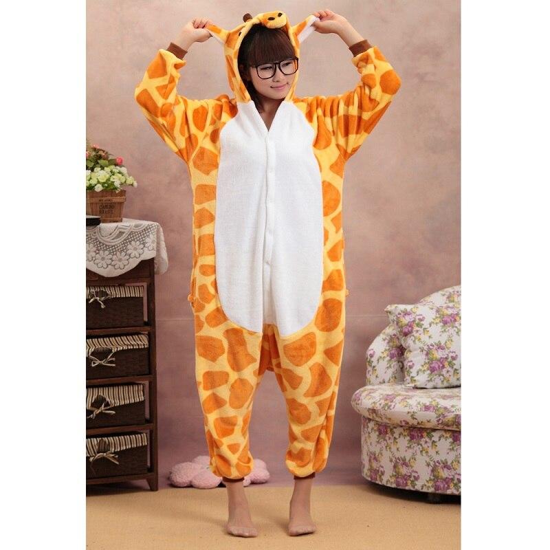 Kigurumi for adults long sleeve hooded onesie pijama giraffe onepiece Kigurumi warm flannel animal pajamas