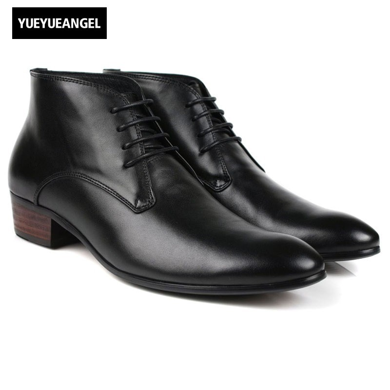 Men Genuine Leather Wedding Dress Shoes Lace Up Block Med Heel Office Work Formal Boots Prom Party Footwear Black Ankle Boots good quality men genuine leather shoes lace up men s oxfords flats wedding black brown formal shoes