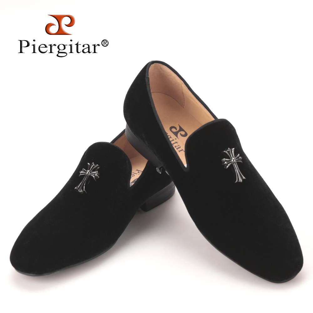 Piergitar 2017 new arrival Men velvet flats shoes with cross charm Handmade fashion party and wedding men dress loafers big size piergitar 2017 two color leopard pattern men velvet shoes fashion party and wedding men dress shoe male plus size flats loafers