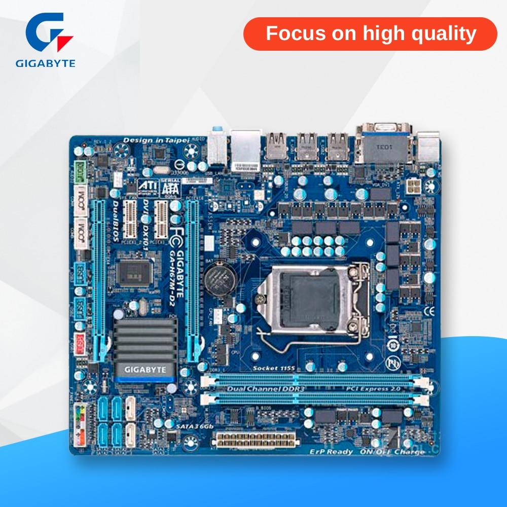 Gigabyte GA-H67M-D2 Original Used Desktop Motherboard H67M-D2 H67 LGA 1155 i3 i5 i7 DDR3 16G Micro-ATX msi h77ma g43 original used desktop motherboard h77 socket lga 1155 i3 i5 i7 ddr3 32g sata3 micro atx