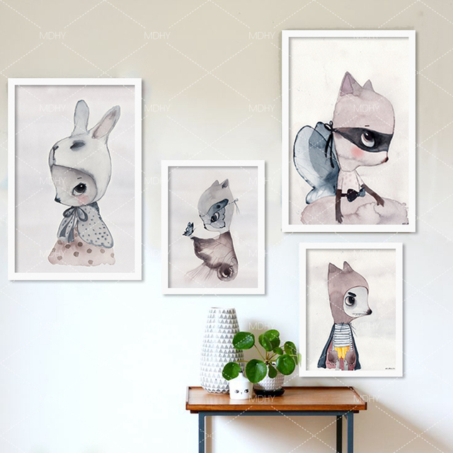 Модули горячая симпатичный мультфильм кролик Акварель иллюстрация Печать на Холсте Живопись Плакат, стены Картину для Девочек Украшения Комнаты