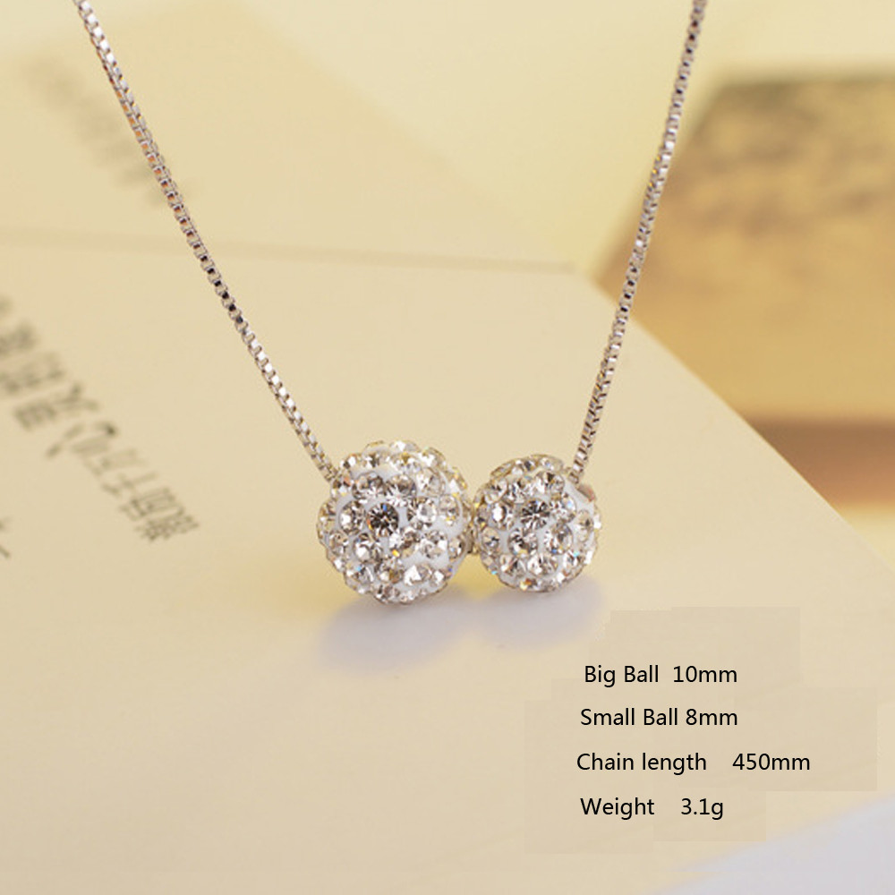 23bba1cdbf Crystals From Swarovski Clavicle Chain Double Shambhala Ball Necklaces  Pendant Anti allergic Necklace for Women Jewelry Gift-in Pendant Necklaces  from ...
