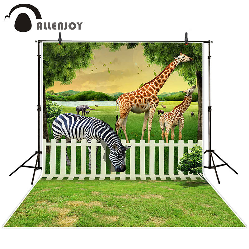 Allenjoy photographic background Animal fenced meadows, forest backdrops children kids summer fabric 150x200cm
