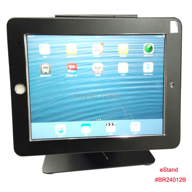 Para o ar iPad mesa quiosque POS bloqueio display stand com anti-roubo enclosue no banco ou no hotel