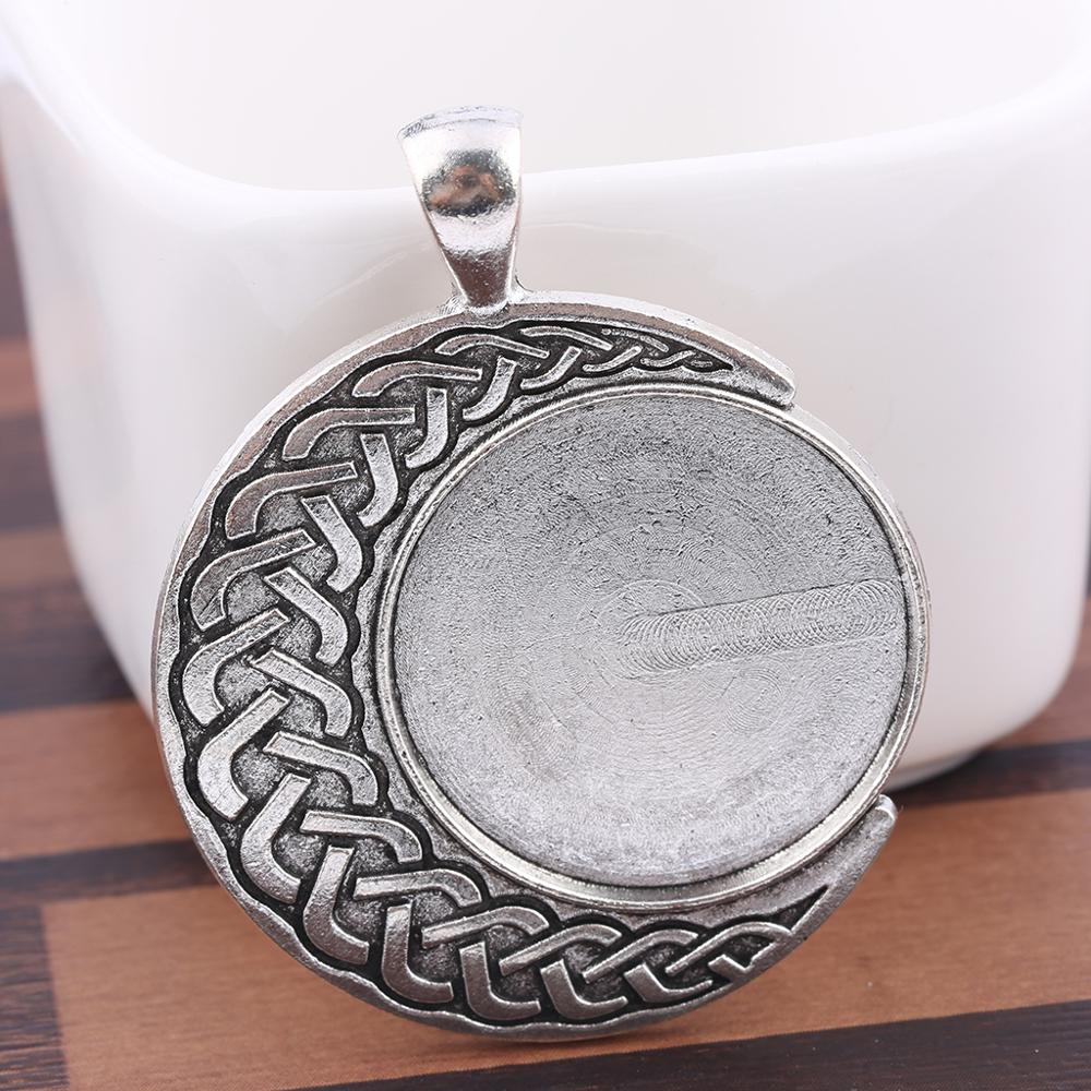 Reidgaller 5pcs Antique Silver 25mm Pendant Cabochon Base Settings Diy Necklace Bezel Tray Blanks For Jewelry Making