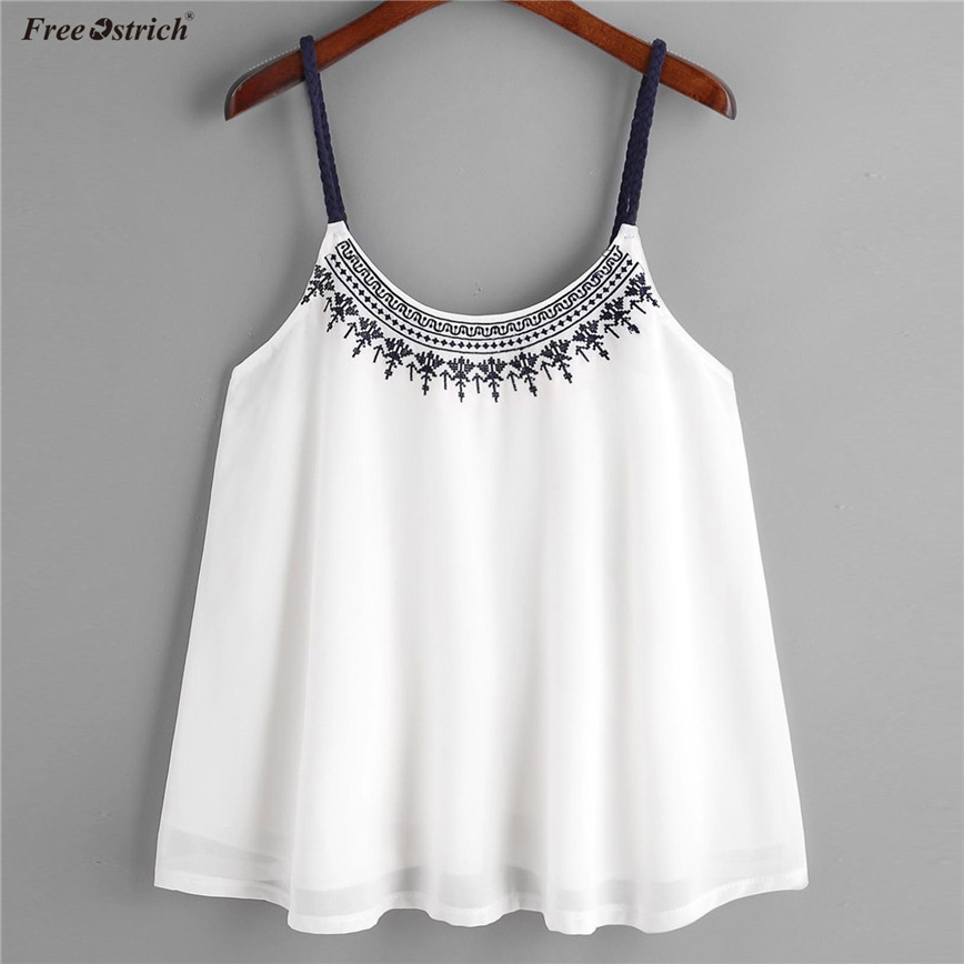 Free Ostrich White Chiffon Camis Women Tops Sleeveless Embroidery Short Shirt Female Casual Brief Summer Tank Tops N30