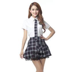 Школьная форма в консервативном стиле, японская школьная форма JK, летние топы с короткими рукавами, белая рубашка, серая клетчатая юбка