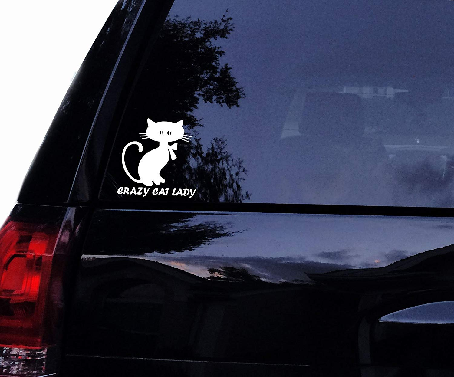 Crazy CAT Lady Silhouette - Cat Vinyl Car Decal, Laptop Window Wall Sticker (4in, White)