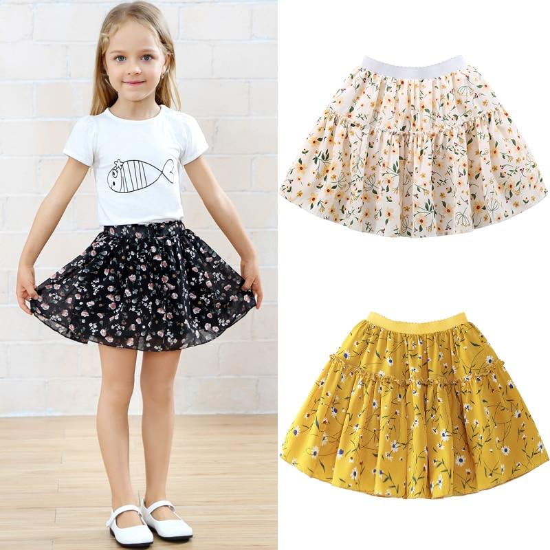 Ruffle Skirt 2018 Summer Baby Girl Sutu Skirt Floral Chiffon Jupe Fille Toddler Girl Clothing 10 12 Disfraz Infantil self belted ruffle waist pinstripe skirt
