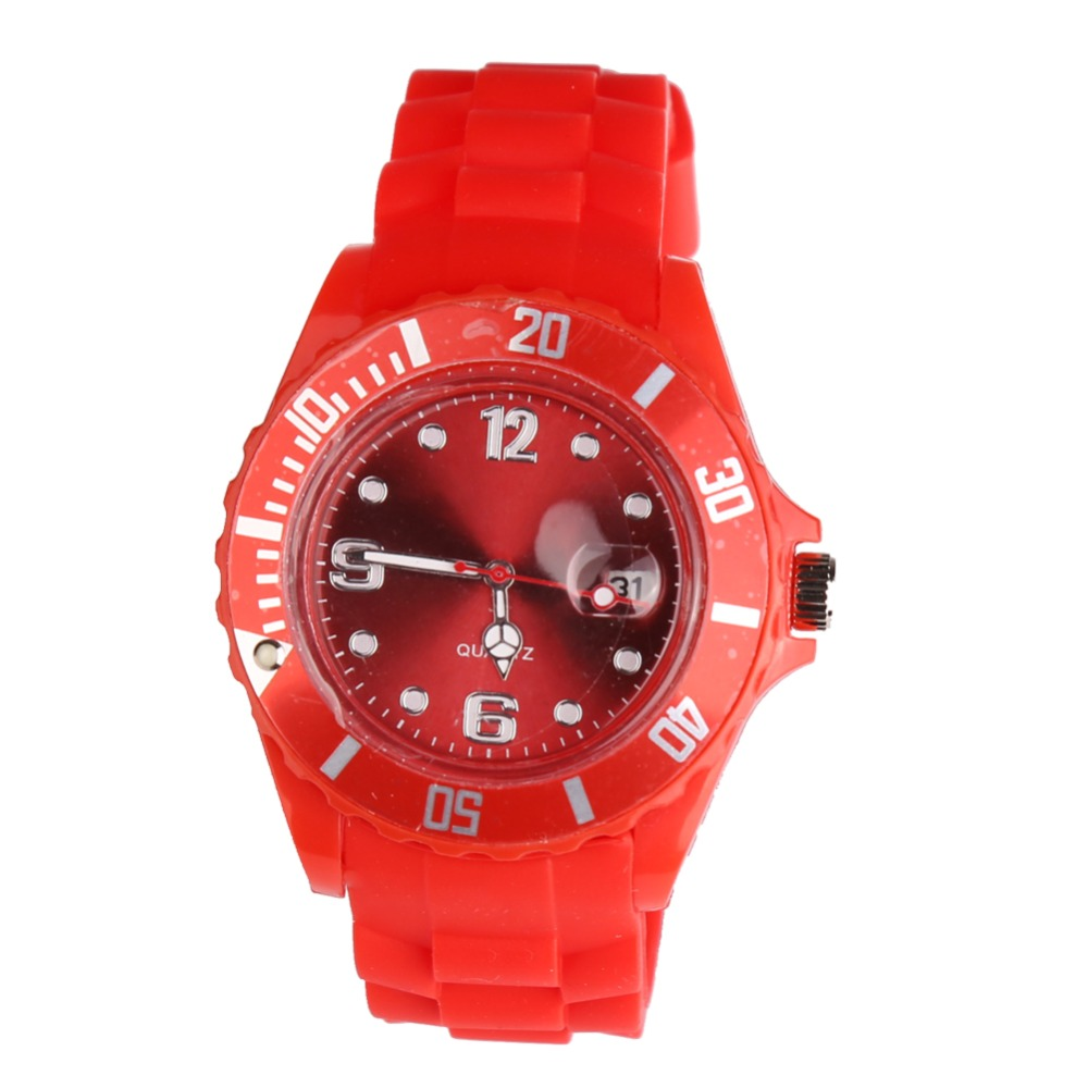 New Fashion Unisex Women Wristwatch Quartz Watch Sports Casual Silicone Reloj Gifts Relogio Feminino Clock Digital Watch Red geneva casual watch women dress watch 2017 quartz military men silicone watches unisex wristwatch sports watch relogio feminino