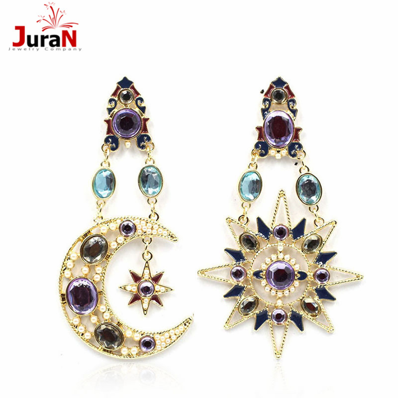 JURAN Hot Sale Moon Star Long Earings 2018 New Arrival Stud Earrings For Women Pendant Fashion Earring Jewelry Wholesale F1304