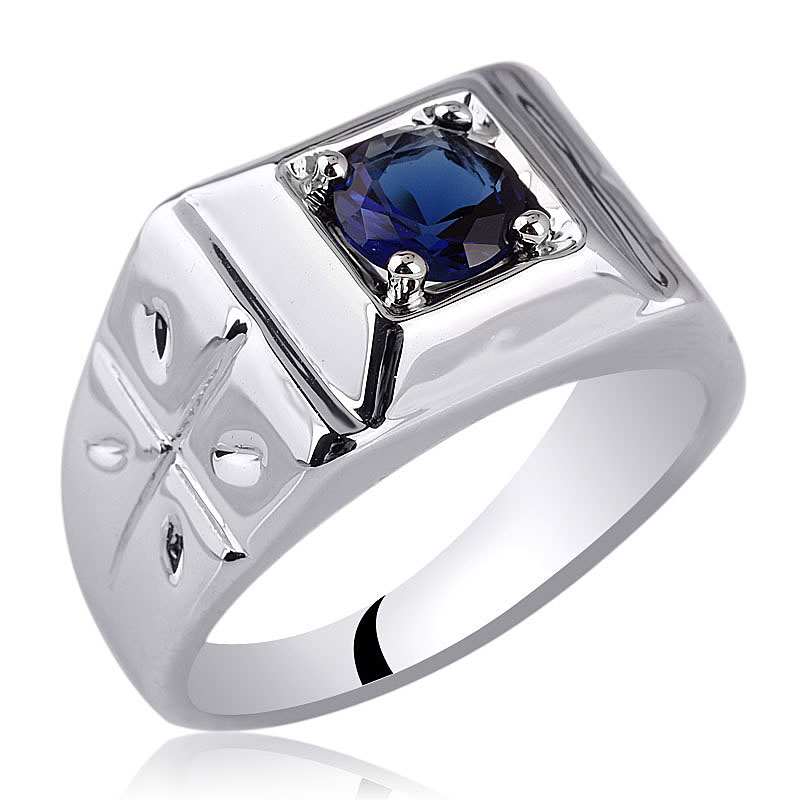 Sterling Silver Cross Ring Men Jewelry 6mm Round CZ Size 6 to 13 Father Gift