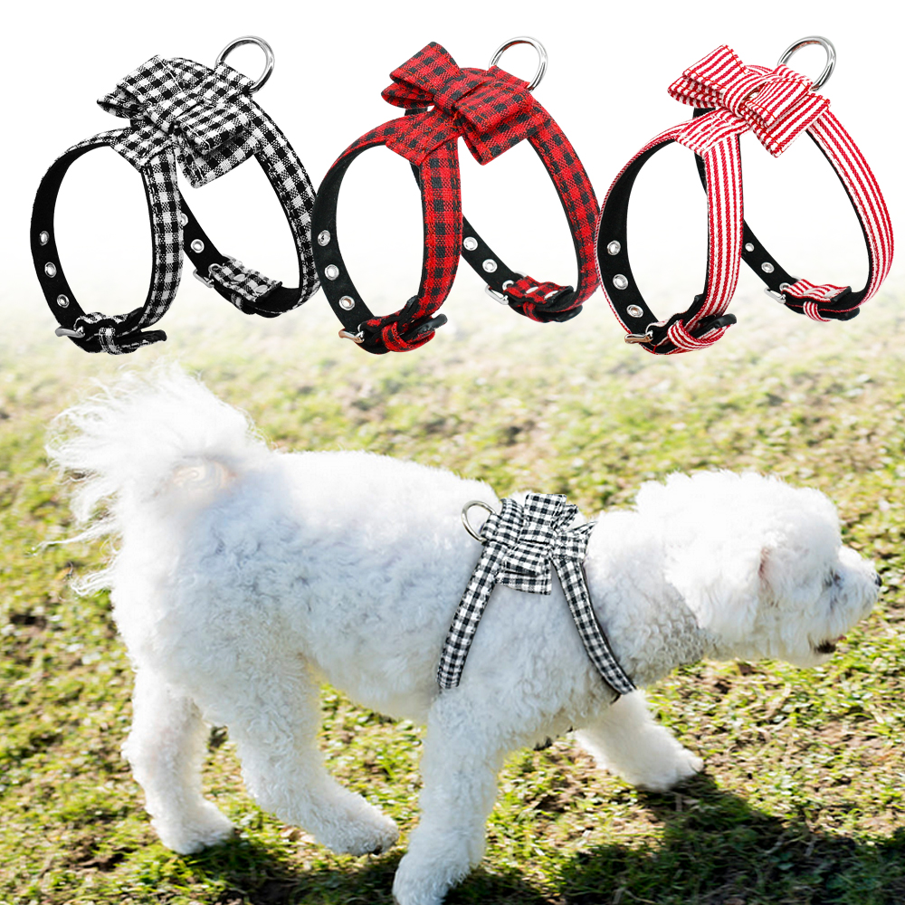 Adjustable Bowknot Dog Harness Soft Puppy Bowtie Harness Plaid Striped Necklace Acessories For Small Medium Pets Chihuahua Pug