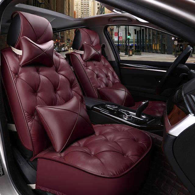 Cadeiras almofadas de assento do carro do inverno almofada grossa cheia do couro do plutônio para Cadillac cts xts srs keep warm seat covers para Infiniti qx50 80