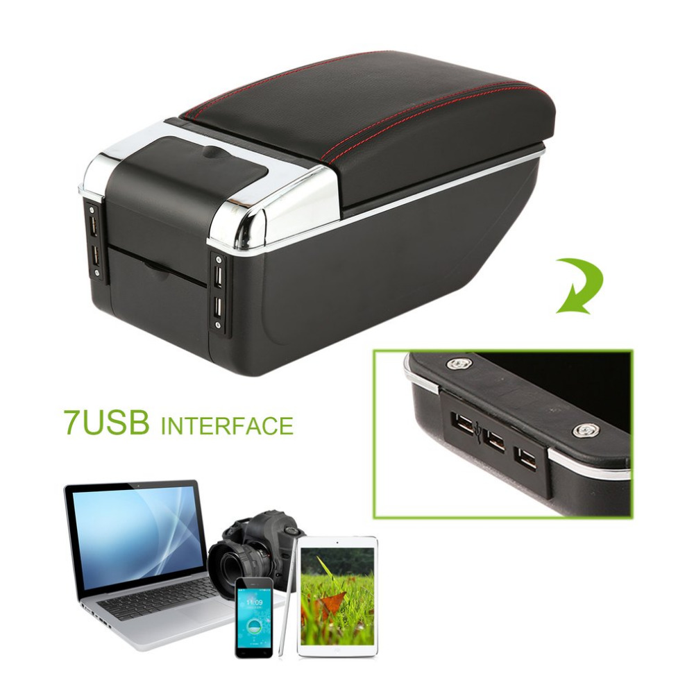 Universal Car Armrest Storage Box with 7 USB Ports Centre Center Console Arm Rest PU Leather Auto Car Styling Tool