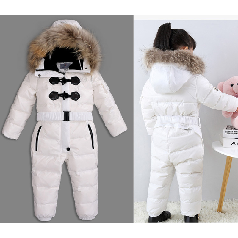 Outdoor Wear Kids Ski Suit Children Down Rompers with Genuine Fur Hood Warm Boys Girls Winter Jumpsuits for -30 Degree 3-8 Years kocotree suit for 3 12 years old children unisex cap scarf gloves winter warm three piece sets