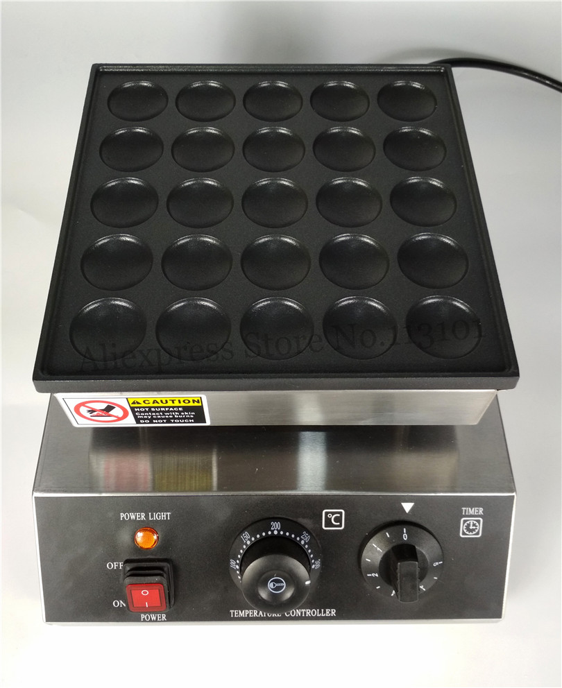 950W 25 Holes Commercial Poffertjes Grill Waffle Machine Small Pancake Maker Non-stick Pan double pans small pancake machine poffertjes machine with non stick pan poffertjes grill waffle maker with 50 pcs moulds