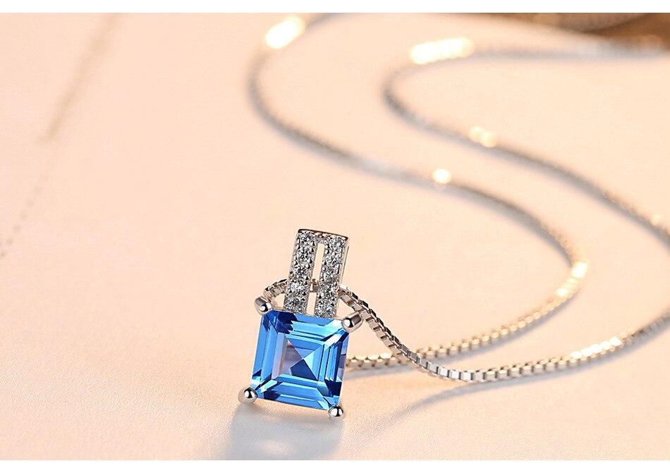 S925 серебро колье с цвет небесно-синий топаз модные цепи коробки G02