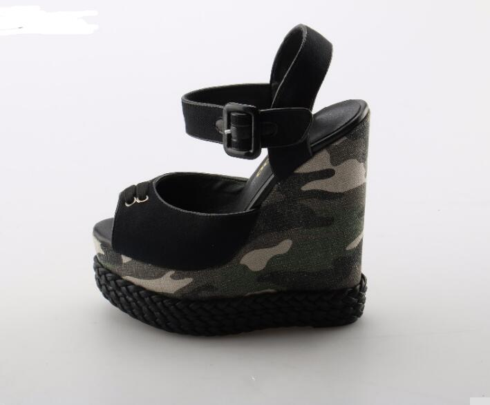 New Brand Sexy Peep toe Platform wedge sandal for woman 2018 Camouflage printed ankle strap sandal super high woman shoes подвесная люстра crystal lux krus sp4 boll