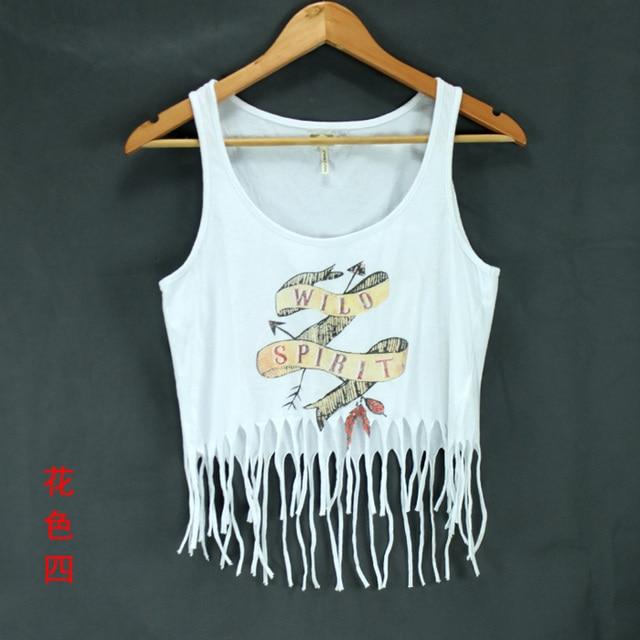 Vintage punk tassel tank fashion hiphop street print short spaghetti strap design basic shirt