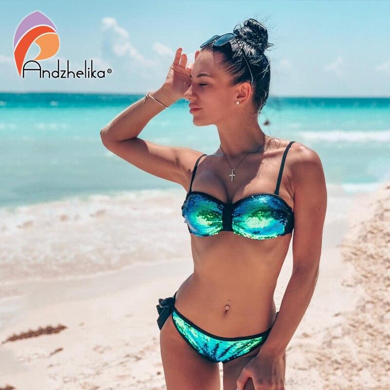 Andzhelika Sexy Sequin Bikini Women Push Up Bikini Set Brazilian Swimsuit Low Waist Swimwear Beach Bathing Suit Biquini AK19015