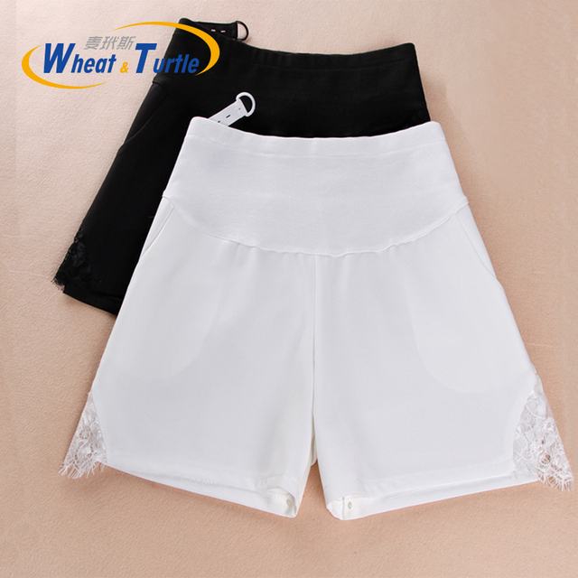 Hot Sale 2016 Summer New Arrival All Match Cotton Maternity Casual ShortsLace Decorated Summer Hot Pants For Pregnant Women