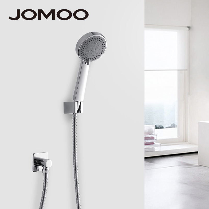 JOMOO Shower Head Wall Mounted Bath Shower Chrome Bathroom Shower Set Hand Shower With Shower Hose Holder Kit Watering Can jomoo 4 inch 3 jet bathroom shower head chrome hand shower with wall bracket stainless steel hose ducha chuveiro water saving