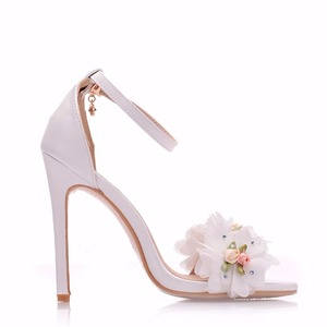 Image 3 - Crystal Queen Sweet white Flower Sexy Dress Wedding Shoes Women Lacing Ankle Strap Peep Toe High Heels Sandals Floral Shoes