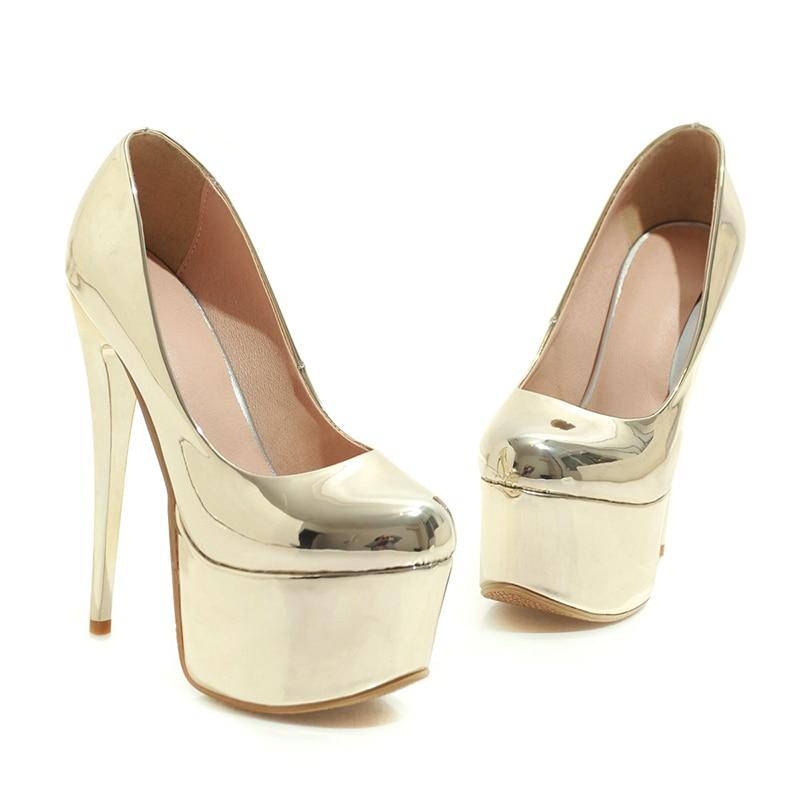 WETKISS talon aiguille pompes hautes femmes bout rond chaussures parti plate-forme chaussures femme miroir chaussures en polyuréthane femme grande taille 33-48 - 3