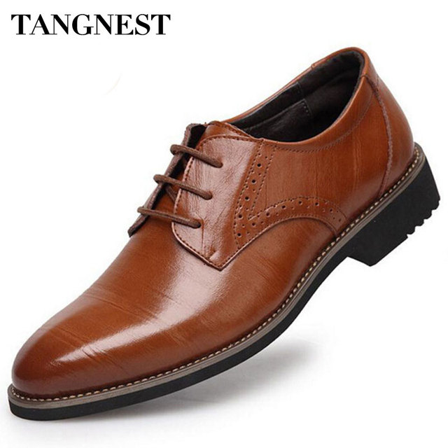 Tangnest 2017 High-Quality Men Shoes Fashion Split Leather Men Business Flats Casual Lace-Up Bullock Oxfords Shoes Man XMP367