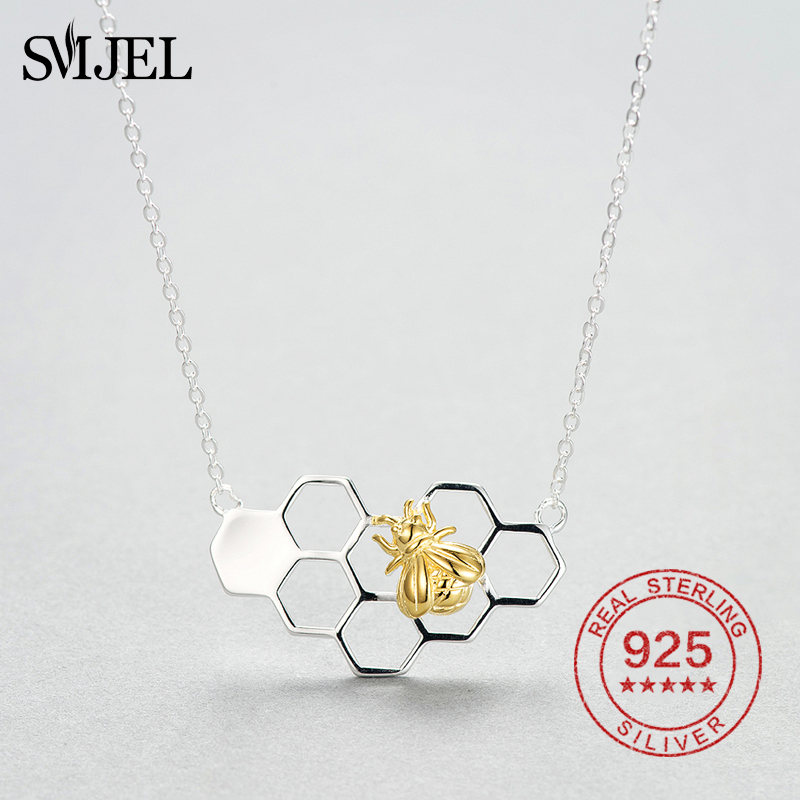 NEW Bee Honeycomb Hive Pendant Charm Gold Silver Necklace Chain Women Jewelry
