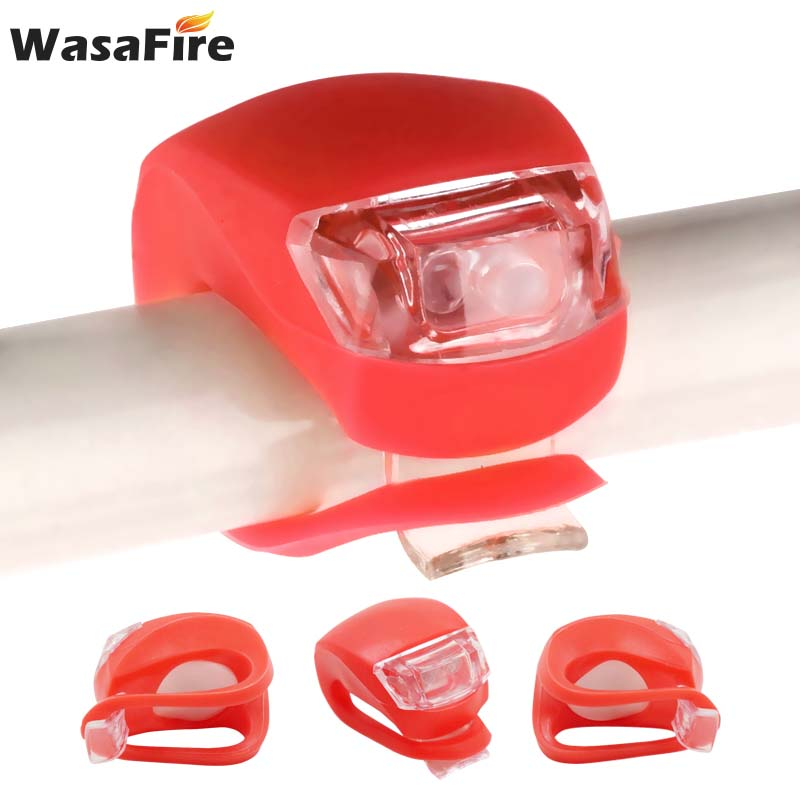 WasaFire Bicycle Front Lights Silicone Safety Warning Light  Helmet LED Flash Light Wheel Bike Light Cycle Rear Tail Head Lamps