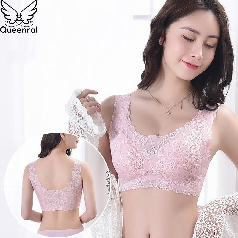 Queenral Seamless Bras For Women Underwear Sexy Lace Bralette Push Up Brassiere BH Lingerie S M L XL Wireless Vest Bra