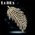 Nova Pena Broche Pin Moda feminina banhado a Ouro Amarelo Cheio CZ Diamante de Cristal Austríaco Jóias Dom F062