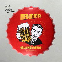 DL-ALL Een MAN BEHOEFTEN BIER Bar Fles Caps Metal Wall Art Antieke Oude Plaat Store Pub Schilderen Decor