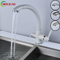 New Style Kitchen Sink Faucet Deck Mounted Drinking Faucet Dual Handle Mixer Taps
