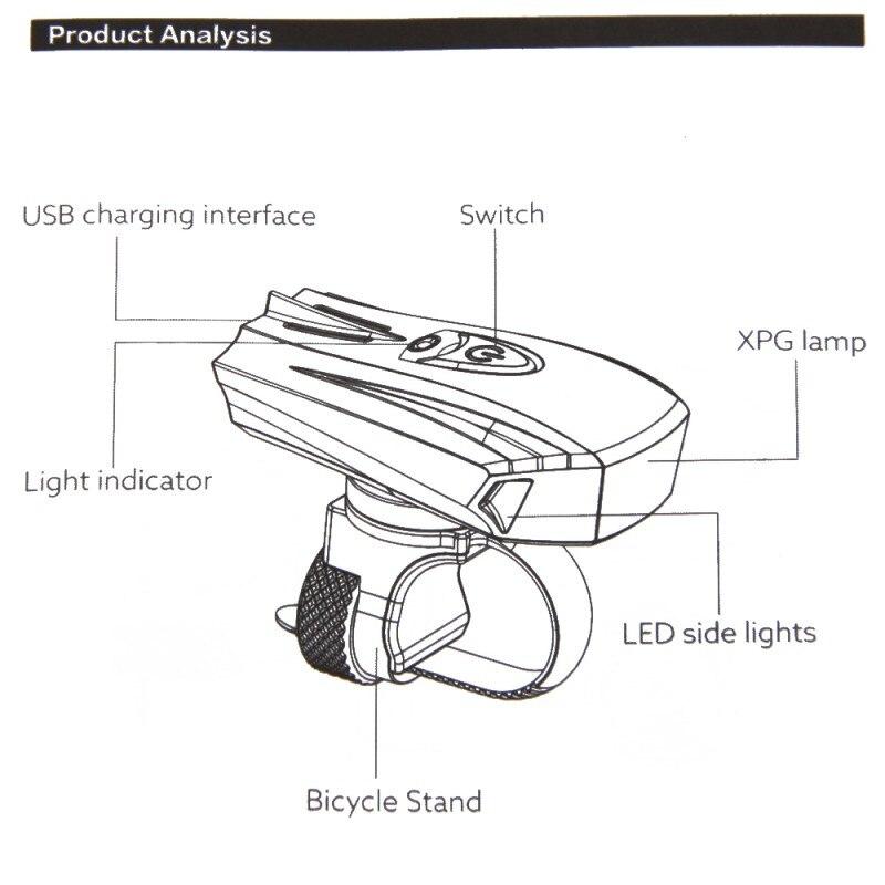 buy usb smart front bike light led bike lamp lantern