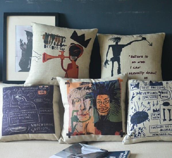 Graffiti Basquiat  Simple Retro Cotton Graffiti Pillow ,Linen Pillow Cushion Car Office Cushions Decor 45*45cm
