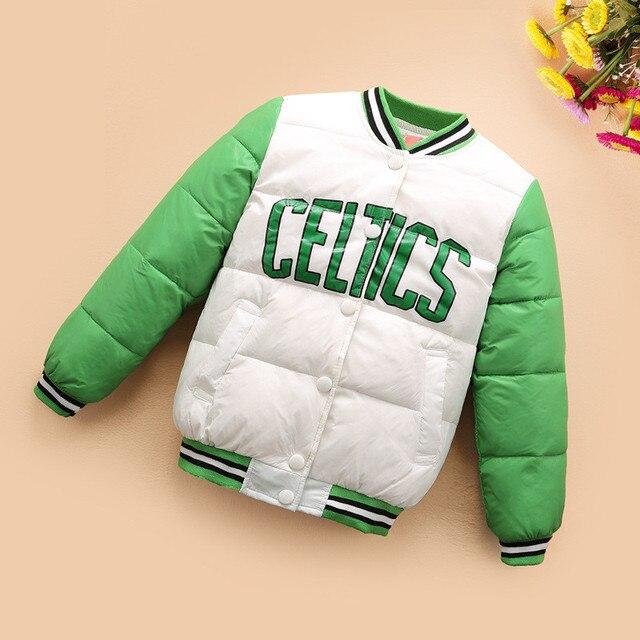 Two Side Children's Winter Jackets Girls Outerwear Coat Celtics White Duck Down Coat Zipper Keep Warm Boys Winter Jacket dj010