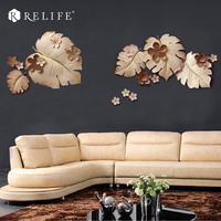 DIY 3D Wall Mural Home Decoration 5 pcs Leaves Background Wall Hanging Stickers