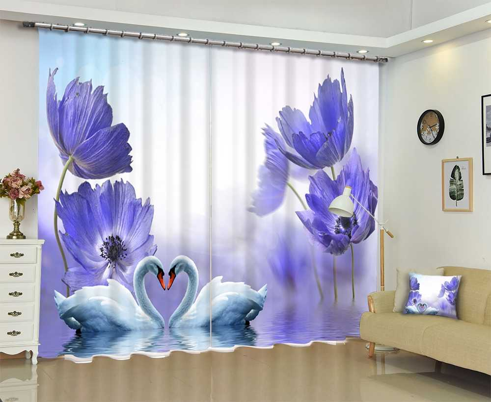 Luxury Blackout 3D Window Curtains For Living Room girl Bedroom Drapes Cortina Rideaux Customized size Purple flowers pillowcase