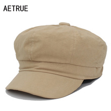 AETRUE Fashion New Women Octagonal Hats Cap Female Hats For Women Girl Blank Boina Flat Berets Winter Newsboy Octagonal Caps Hat