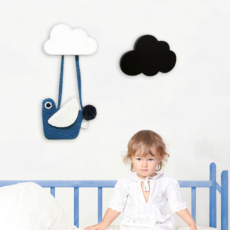 Cute Wooden Cloud Hook For Kids Room Wall Mounted Clothes Bag Robe Rack Eco Friendly Hanger Bathroom Living Room Decor