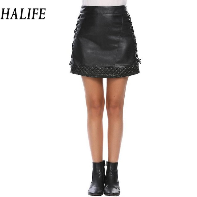 Halife Women High Waist Criss Cross Lace Up Synthetic Leather Skirt