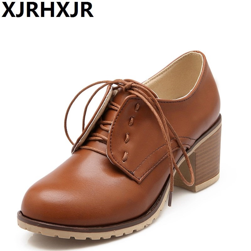 XJRHXJR New Spring Autumn Lace Up Single Shoes Woman Fashion Round Toe Thick Heel British Style Women Leather Shoes Ladies Pumps xiaying smile new spring autumn women pumps british style fashion casual lace shoes square heel pointed toe canvas rubber shoes