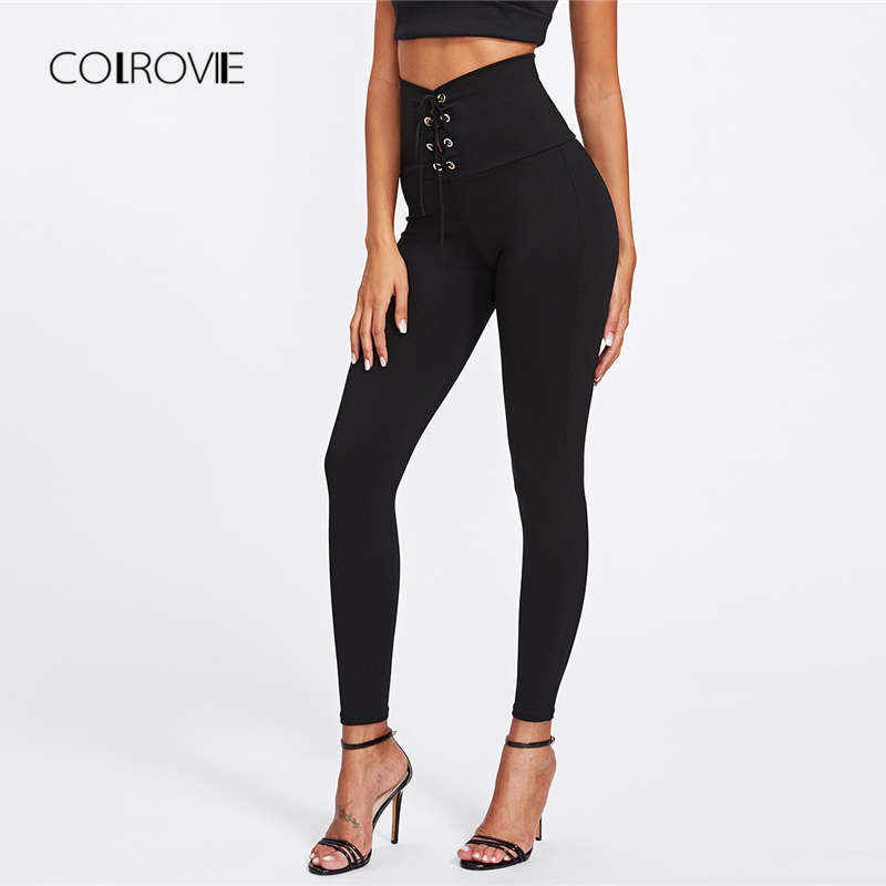 COLROVIE Spring High Waist Skinny   Leggings   Black Empire Eyelet Lace Up Sexy   Leggings   Women Elegant Sporting Pants