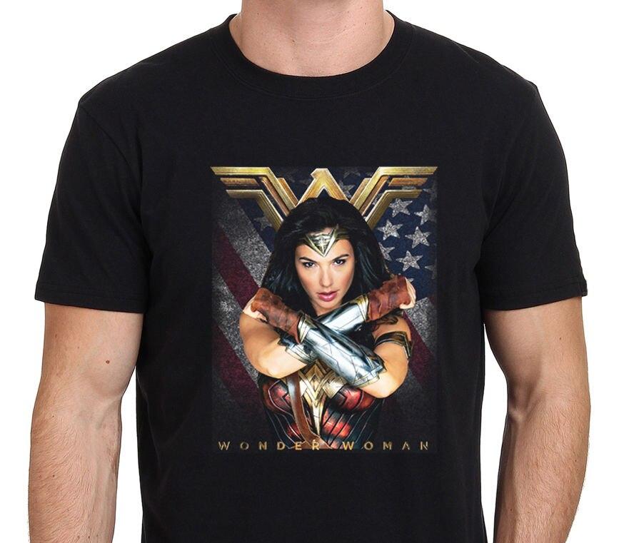 Новое Чудо Женщина Супергерой фильм гадот Для мужчин футболка Черная Размеры: S-XXL